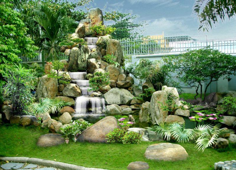 Tiểu cảnh sân vườn kết hợp hòn non bộ, thác nước, cây xanh