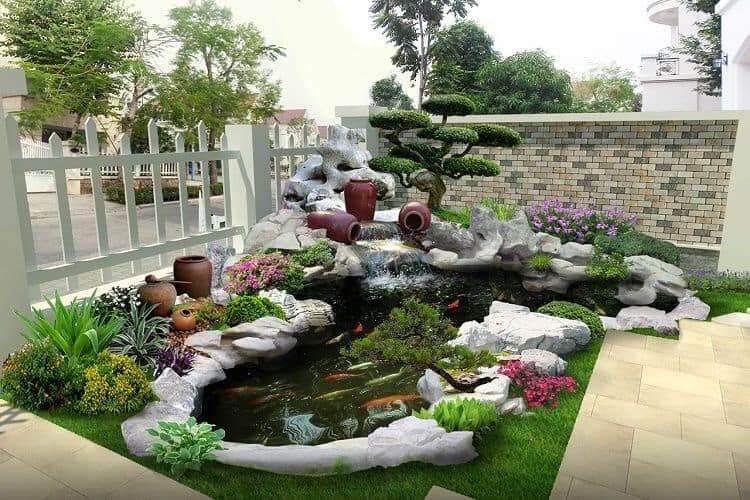 Thiết kế non bộ sân vườn hồ cá