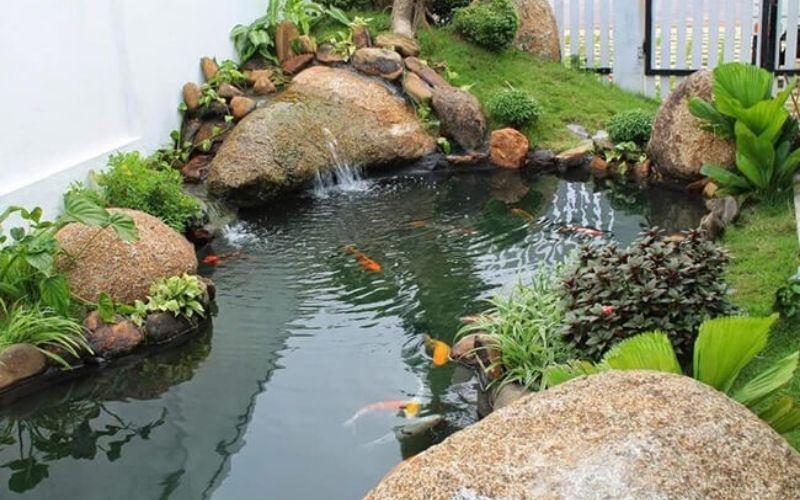 Mẫu tiểu cảnh hồ cá đẹp nước động