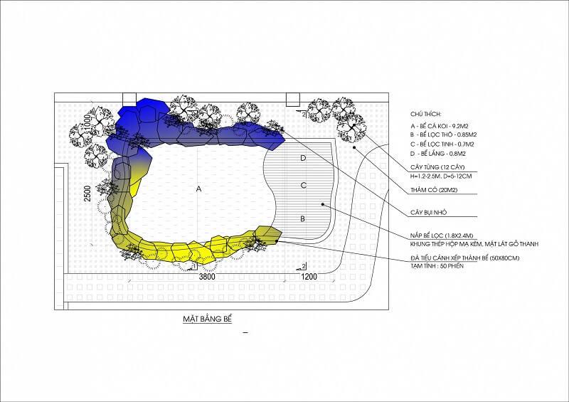 Nội dung của bản vẽ thiết kế hồ cá Koi