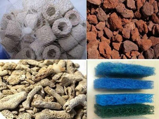 Các loại vật liệu lọc sử dụng chung với san hô