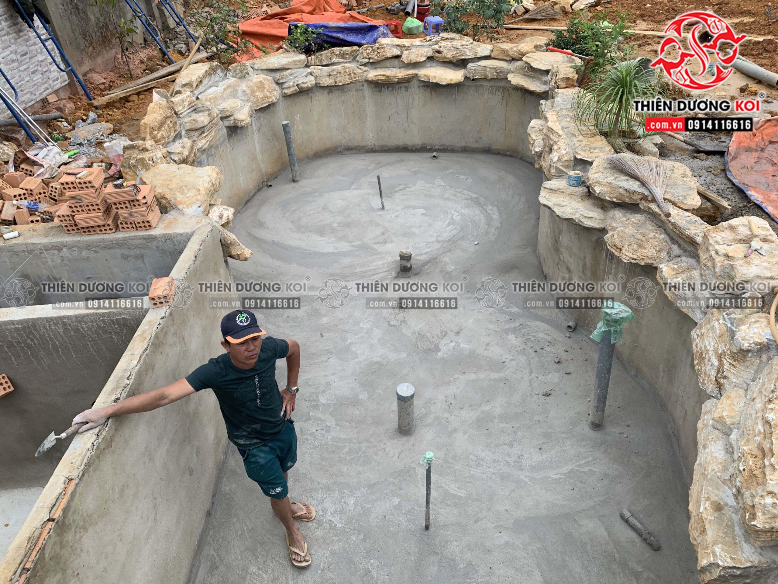 Quá trình thi công hồ cá koi của chị Nhu tại Đà Lạt