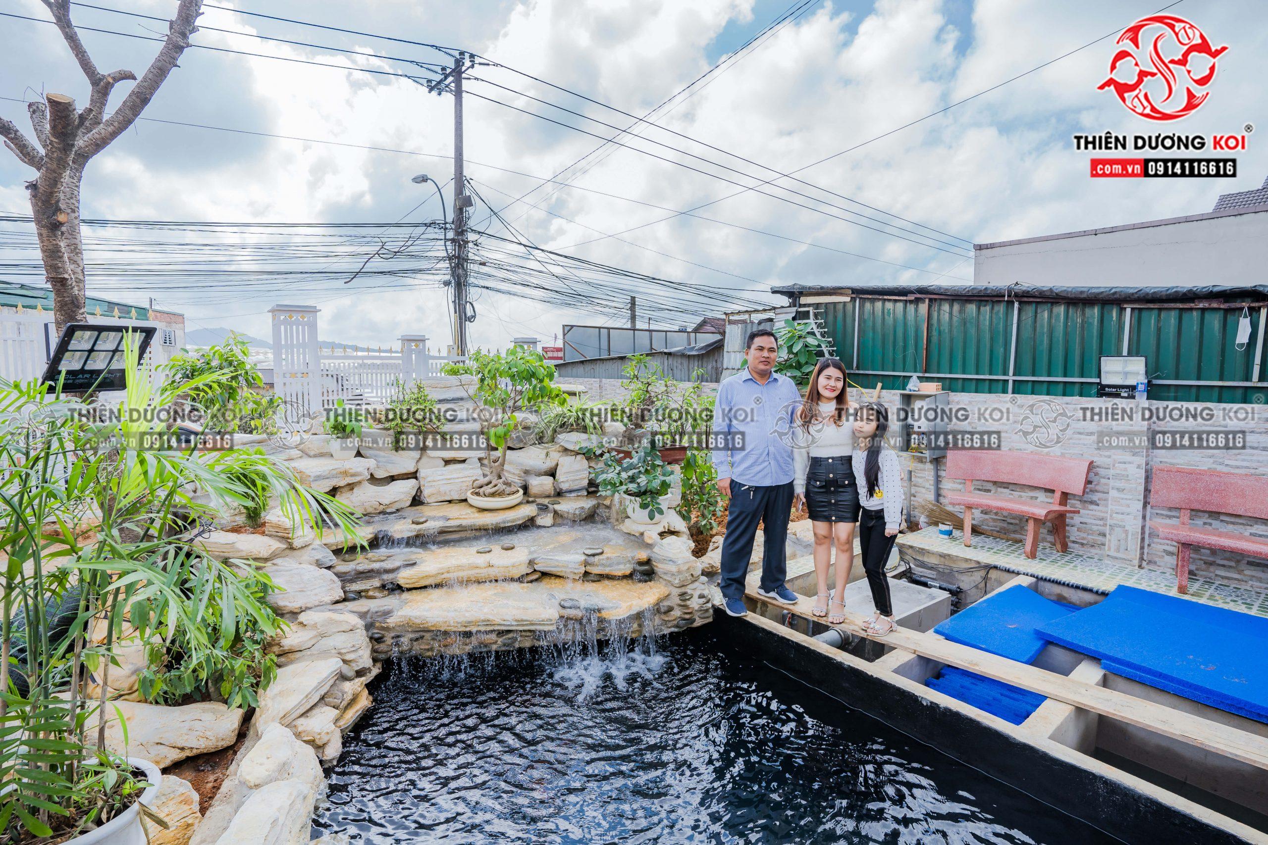 Hồ cá koi của Chị Nhu sau khi đã hoàn thiện