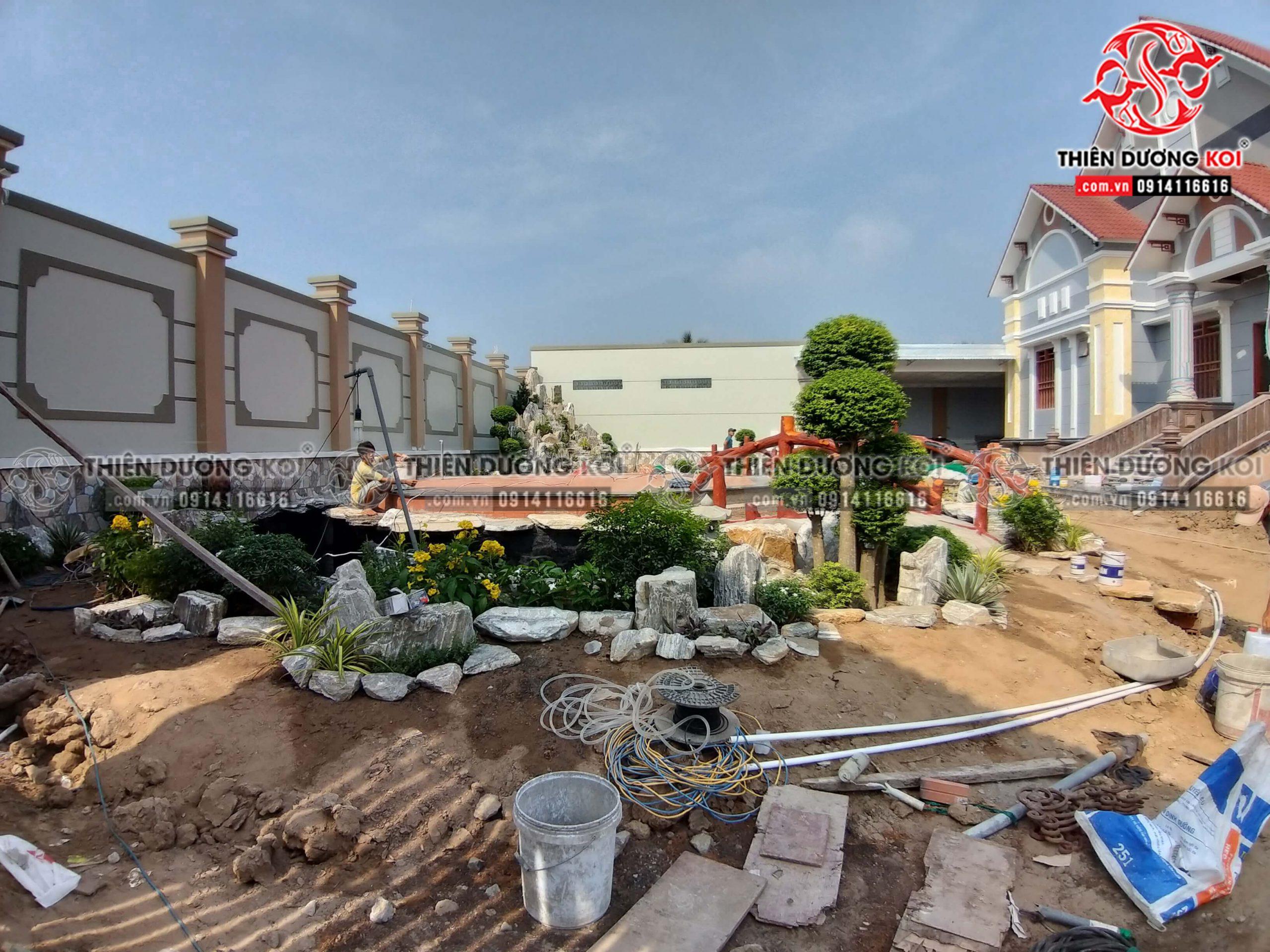 Quá trình xây dựng công trình hồ cá koi tại tỉnh Bến Tre