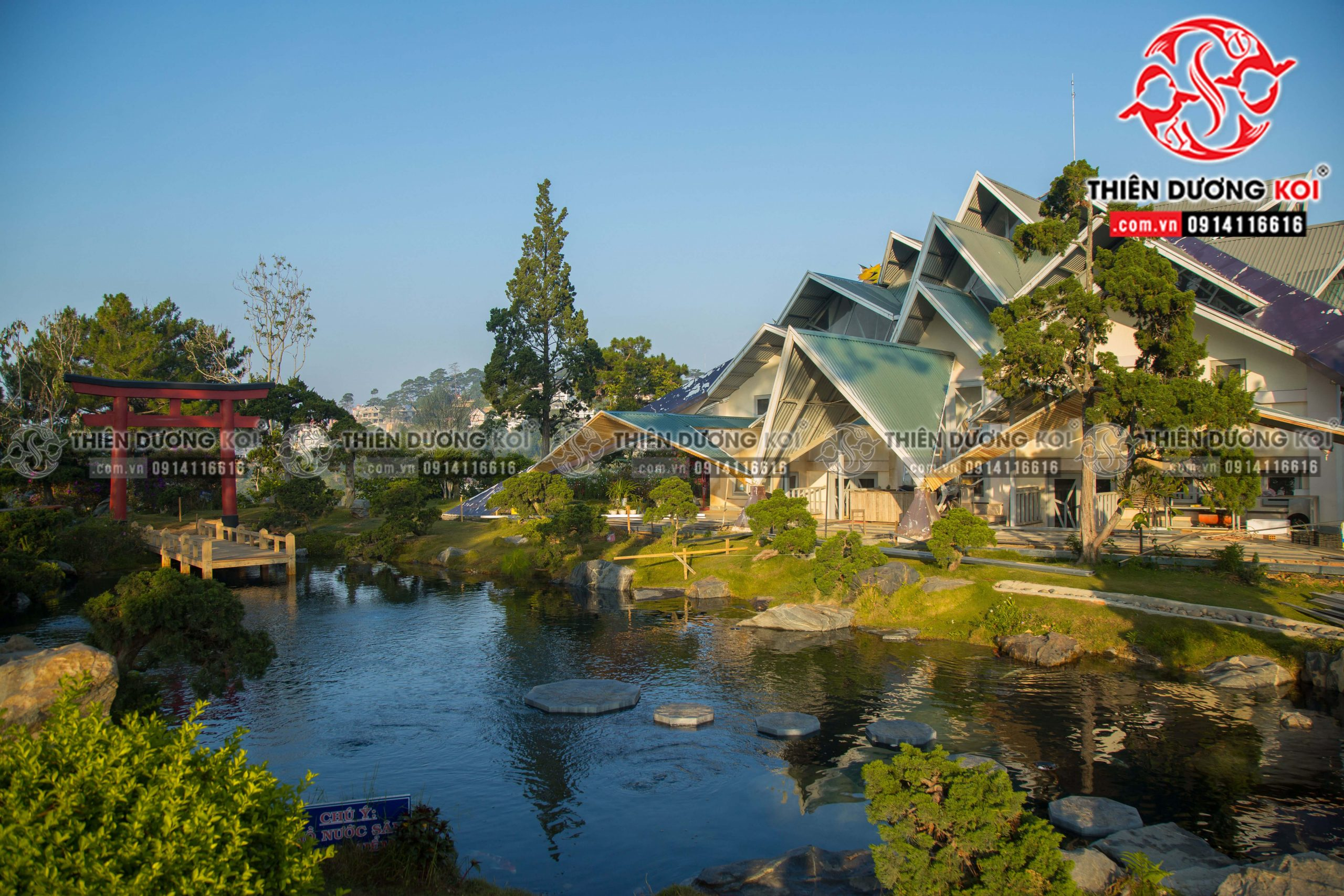 Khu du lịc Lá Phong đã được hoàn thiện phần thiết kế - thi công hồ cá koi