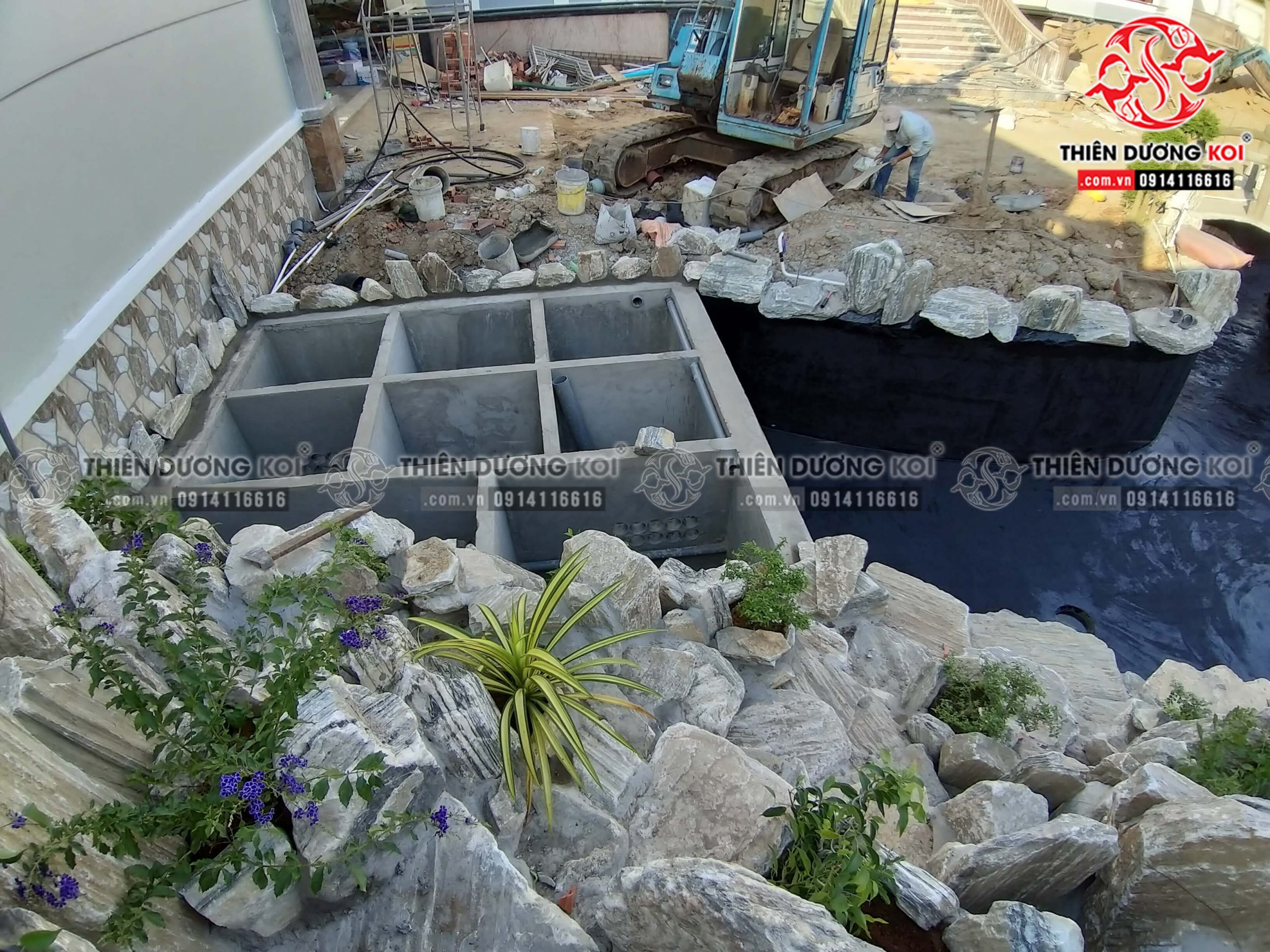 Hệ thống lọc hồ cá koi của công trình